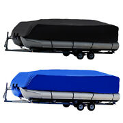 17ft-24ft Waterproof Uv Pontoon Boat Cover Heavy Duty Oxford Fabric Trailerable
