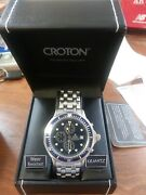 Croton Watch Chronomaster Blue Bezel Stainless Steel Cc311083ssbl New In Box