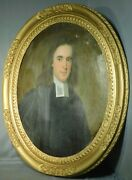 Antique 18th Century 1700s Painting Oval Portrait Handsome Clergy Man Irish Old