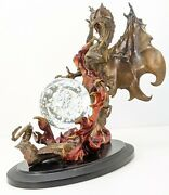 Franklin Mint The Dragon Of Destiny Crystal Ball Julie Bell Red Bronze Statue