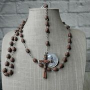Antique Clay Oval Beaded Rosary Silver Inri Wooden Crucifix Italy 33 Medallion