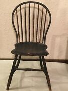 Rare Important Antique Original Patriotic Windsor Chair In Red White And Blue