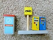 Wooden Toy Phone Booth Gas Pumps Compatible W/ Thomas Brio Wood Railway Train