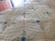 Classic Cottage Style Cabin Crafts Rose Floral Vintage Chenille Bedspread, Twin