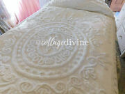 Dreamy Hollywood Glam Cream Ivory Satin And Chenille Vintage 1950s Bedspread, Twin