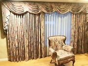 Vintage 90s Custom Drapes 2 Panels And Cascade Valance Cotton 168w X 84l Lined