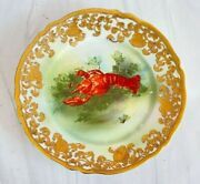 Antique C.1891 Noritake Maple Leaf Nippon Lobster Cabinet Plate Gilding And Gold