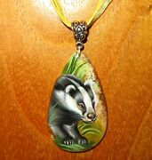 Pendant Cute Badger Genuine Russian Hand Painted Stone Signed Gorbachova
