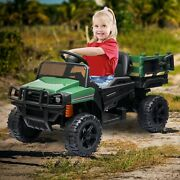 12v Kids Ride On Truck Battery Powered Toy Tractor With Trailer And Remote Control