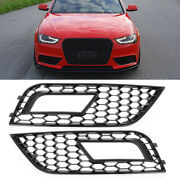 Black Fog Light Grill Trim Cover Honeycomb Style For 2013-2016 Audi A4 B8.5 New
