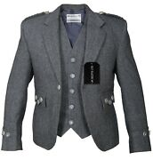 Grey Tweed Argyll Jacket And Vest Pure Wool Matching Bone Buttons