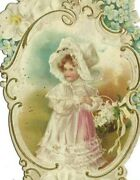 Ai-314 Victorian Era Card Of Girl With Flowers Die Cut Pink White Dress