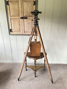 Young And Sons Antique Transit Y And S New York Surveying Compass W/ Box And Tripod