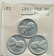 1943 Pds Steel Cents - Bu Gem Uncirculated Wwii Penny Sealed Lot As Pictured
