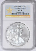 2014-w Silver Eagle Ngc Ms-70 Early Releases 36-034