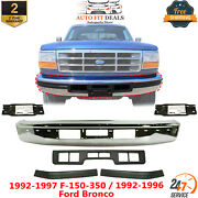 Front Bumper Chrome + Center And Side Molding For 92-97 F-series / 92-96 Bronco