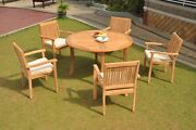 6pc Grade-a Teak Dining Set 52 Round Table 5 Leveb Stacking Arm Chair Outdoor