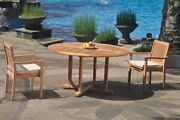 3pc Grade-a Teak Dining Set 60 Round Table 2 Leveb Stacking Arm Chair Outdoor