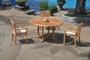 4pc Grade-a Teak Dining Set 60 Round Table 3 Leveb Stacking Arm Chair Outdoor