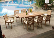 Hari Grade-a Teak 7pc Dining 94rectangle Table 6 Stacking Arm Chair Outdoor Set