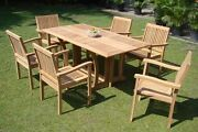 Leveb Grade-a Teak 7 Pc Dining 69 Console Table 6 Stacking Arm Chair Set New