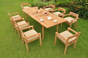 Montana Grade-a Teak 9pc Dining 94 Rectangle Table 8 Stacking Arm Chair Set New