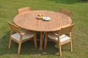 5pc Grade-a Teak Dining Set 72 Round Table 4 Vellore Stacking Arm Chair Outdoor