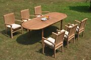 7pc Grade-a Teak Dining Set 94 Oval Table 6 Wave Stacking Arm Chair Outdoor