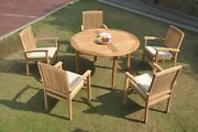 6pc Grade-a Teak Dining Set 52 Round Table 5 Wave Stacking Arm Chair Outdoor