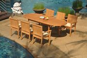 7pc Grade-a Teak Dining Set 94 Oval Table 6 Leveb Stacking Arm Chair Outdoor