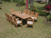 Cahyo Grade-a Teak 7 Pc Dining 94 Rectangle Table Stacking Arm Chair Set New