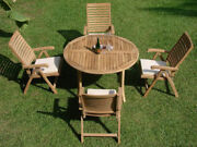Ashley Grade-a Teak 5pc Dining 52 Round Table 4 Reclining Folding Arm Chair New