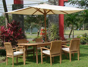 Wave Grade-a Teak 7pc Dining 94 Rectangle Table 6 Stacking Arm Chair Set Outdoor