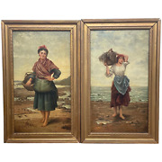 Pair Victorian Oil Paintings Cockle Pickers Female Figures On Shoreline