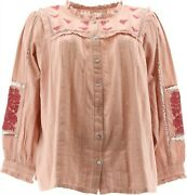 Logo Lavish Lori Goldstein Textured Blouse Embroidery Rose Pearl 2x New A377551