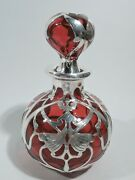 Gorham Cologne - D945 - Perfume Bottle - American Red Glass Silver Overlay