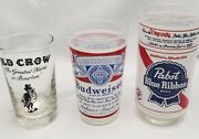 Pabst Blue Ribbon - Budweiser - Old Crow - Bar Glassware Rare Vintage 3 Piece