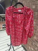 Red Max Studio Summer Floral Peasant Blouse Shirt Top Boho Plus Size Top1x