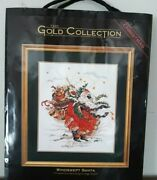 Dimensions Gold Collection Windswept Santa Counted Cross Stitch Kit 8449 Vintage