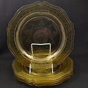 5 Federal Patrician Amber Yellow Depression Glass Square Dinner Plates 1930's