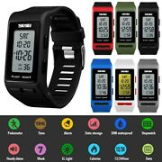 Digital Watch Menand039s Womenand039s Sport Band Wrist Led Waterproof Chronograph Repeater