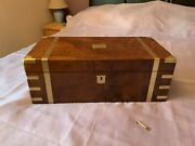 Large Victorian Writing Slope/ Box Secret Drawers And Working Lock And Key