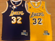 Magic Johnson 32 Los Angeles Lakers Menand039s Yellow/purple Sewn Throwback Jersey