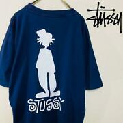 Stussy T-shirt 90s Navy Blue Tag Shadowman Back Print Made In Usa List No.st116