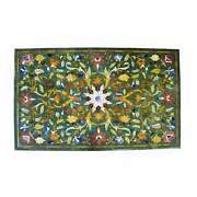 4and039x2.5and039 Green Marble Table Top Center Pietra Dura Inlay Home Decor Antique Fet