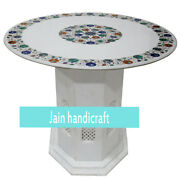 30 White Marble Table Top Center Coffee Home Decor Inlay Malachite With Stand