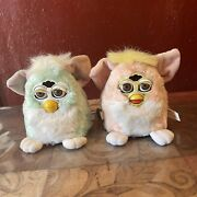 1999 Furby Babies Baby Blue Mow Hawk Pink And Yellow Lot Of 2 Not Working