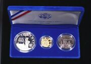 1986-s Statue Of Liberty Proof Gold And Silver 3 Coin Set Us Mint Box/coa Lm230