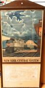 .rare New York Central Railroad System Original Station Display. Poster And Map.