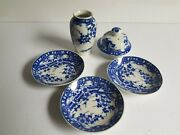 Japan Blue And White Porcelain Lot Tiny Dishes Vase And Teapot Lid Antique